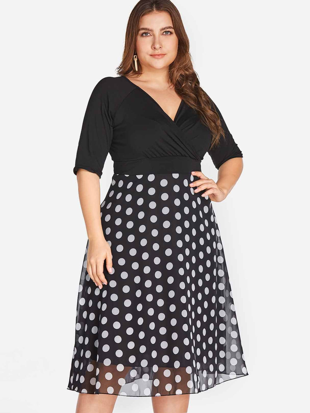 V-Neck Polka Dot Wrap Half Sleeve Black Plus Size Dress