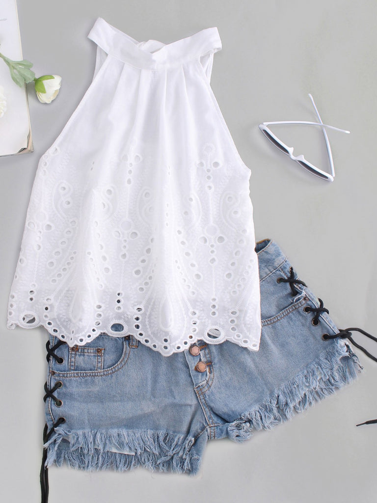 Plain Backless Hollow Sleeveless White Crop Top