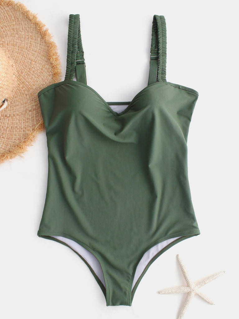 V-Neck Sleeveless Green One-Pieces Swimwear