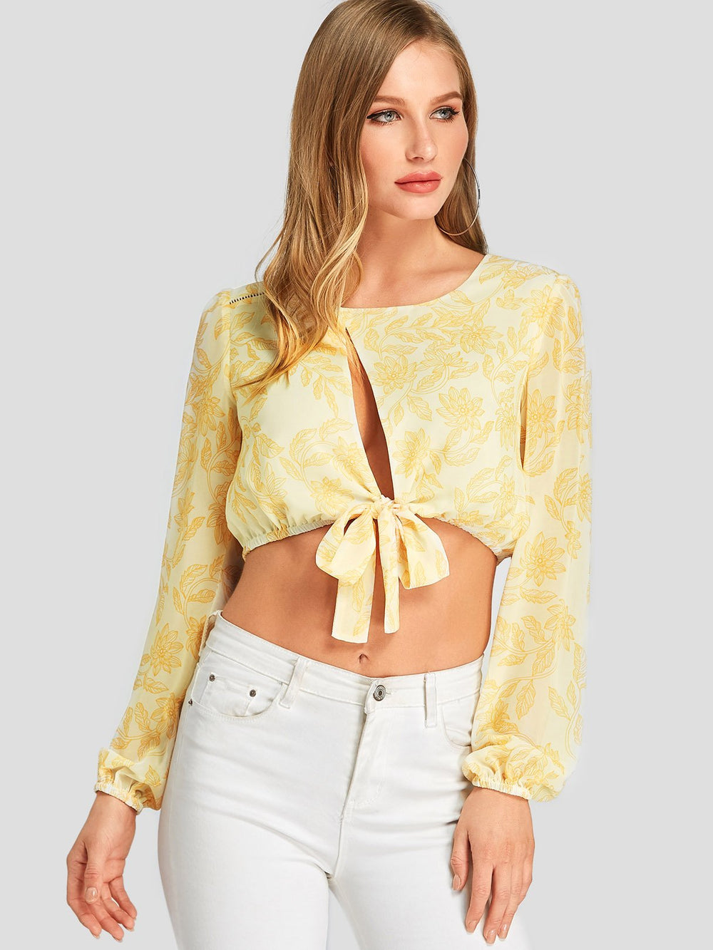 Round Neck Floral Print Cut Out Yellow Crop Top