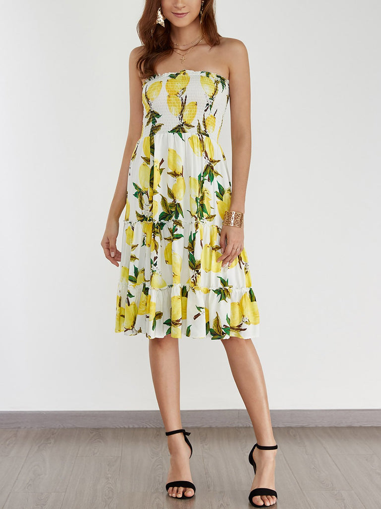 Strapless Floral Print Backless Dresses