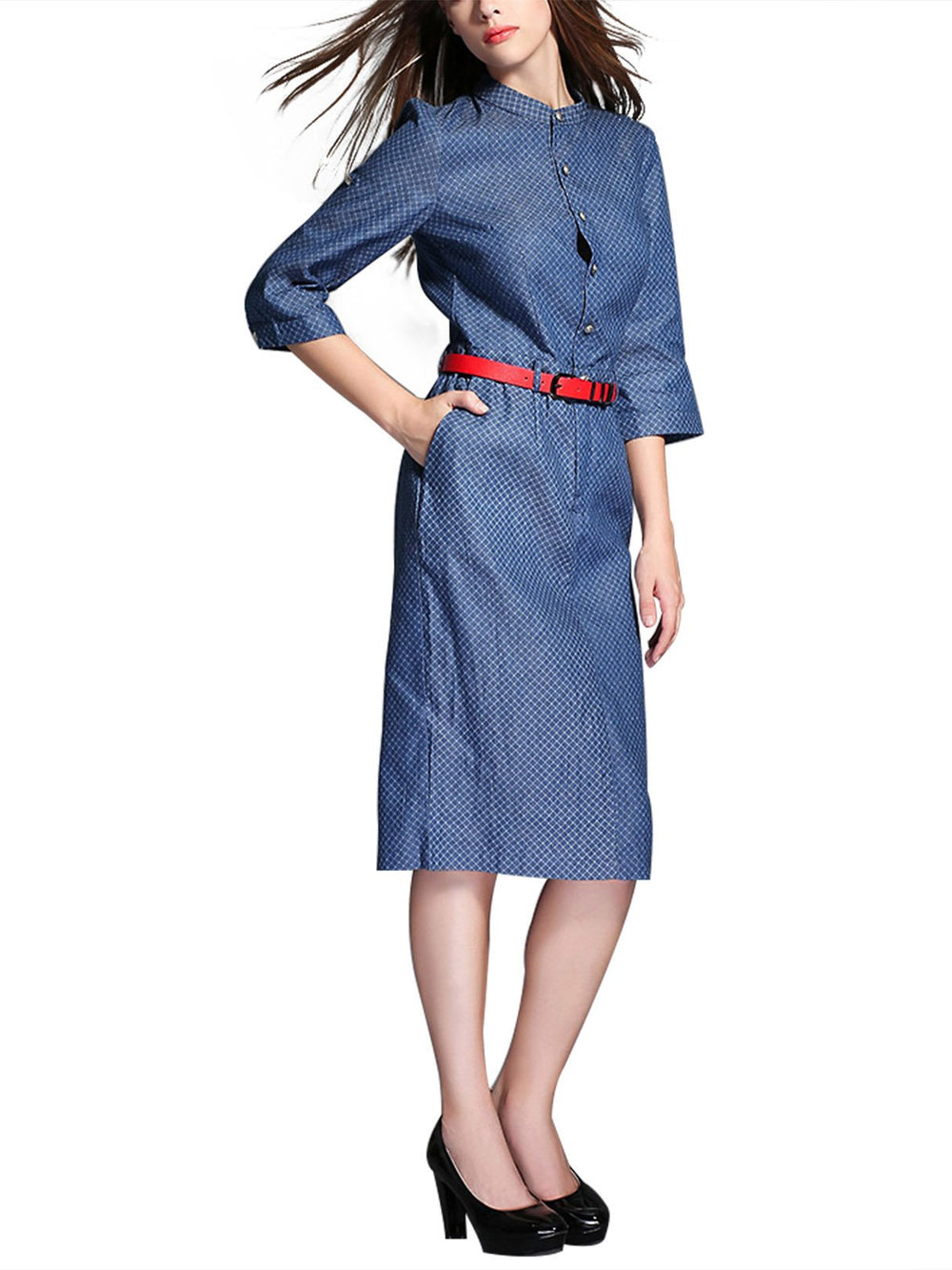 Womens 3/4 Sleeve Shirt Dresses