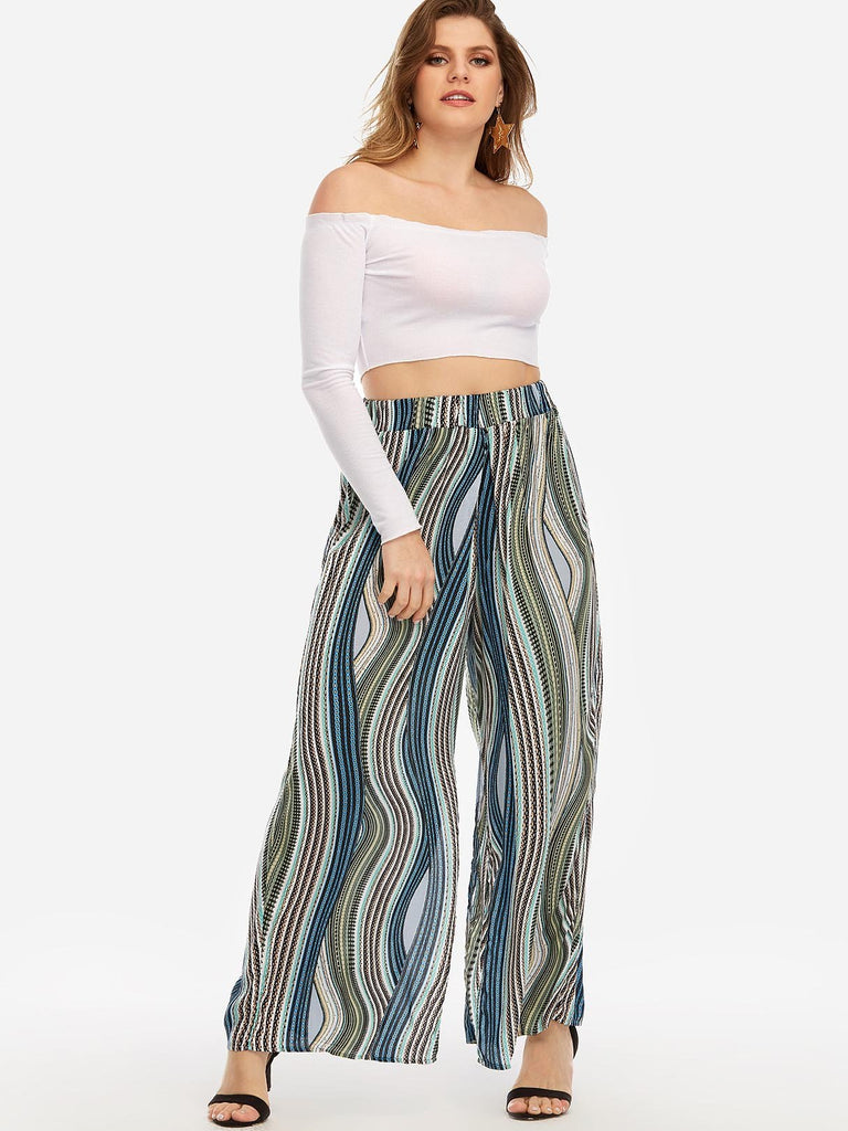 Stripe Fantasy Colour Slit Plus Size Bottoms