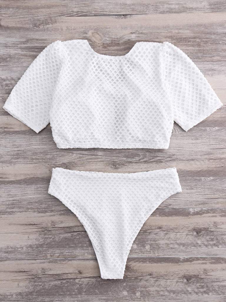 Womens White Plus Size Swimwear