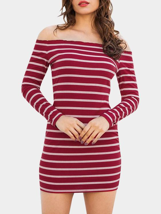 Off The Shoulder Stripe Long Sleeve Bodycon Hem Red Mini Dress