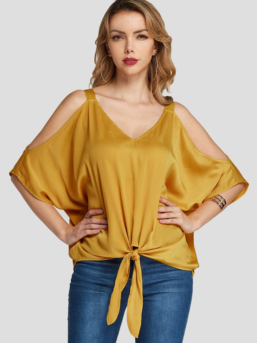 V-Neck Cold Shoulder Self-Tie Yellow Blouses