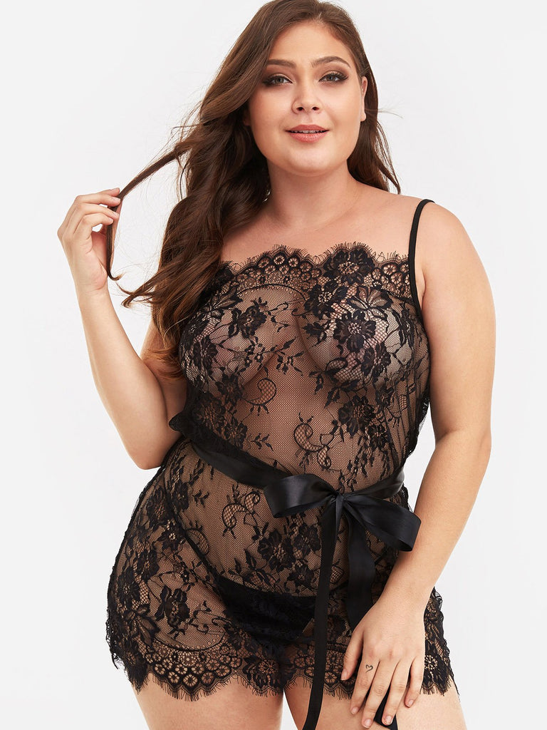 Plain Lace See Through Self-Tie Black Plus Size Intimates