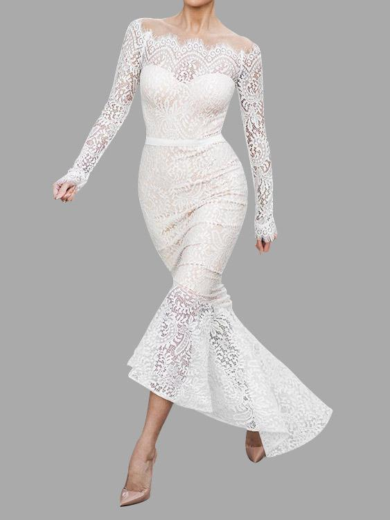 White Off The Shoulder Long Sleeve Lace Zip Back Flounced Hem Maxi Dresses