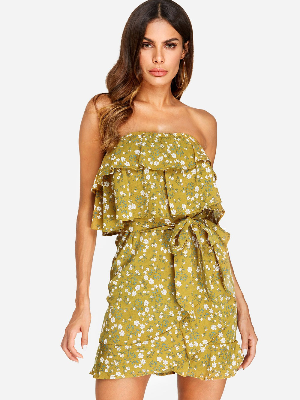Yellow Strapless Sleeveless Floral Print Tiered Self-Tie Flounced Hem Mini Dresses