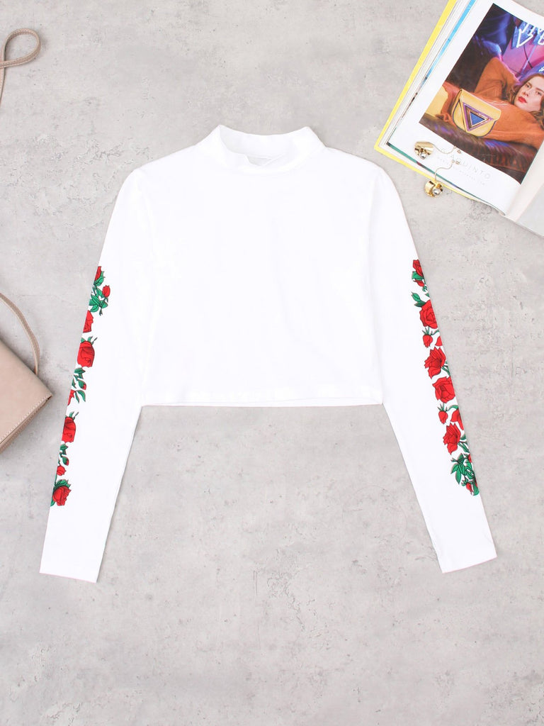 Round Neck Floral Print Long Sleeve White Fashion Top