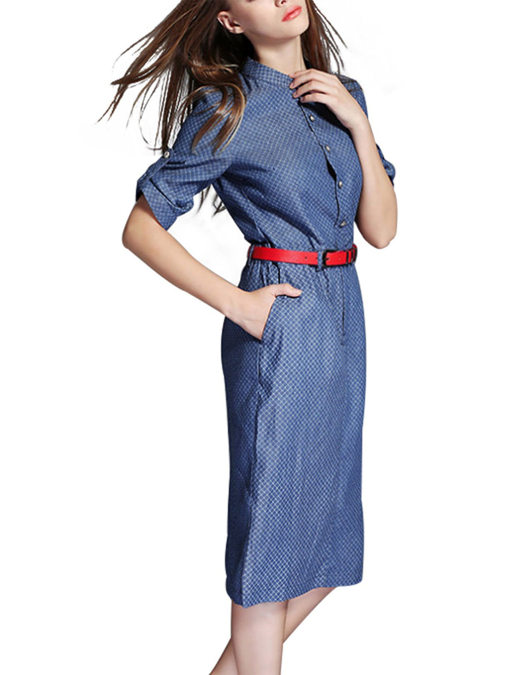 Ladies 3/4 Sleeve Shirt Dresses