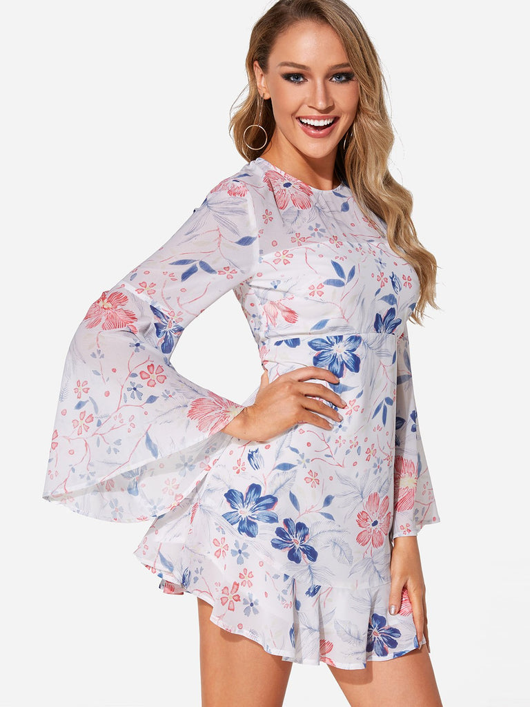 White Round Neck Long Sleeve Floral Print Backless Mini Dress
