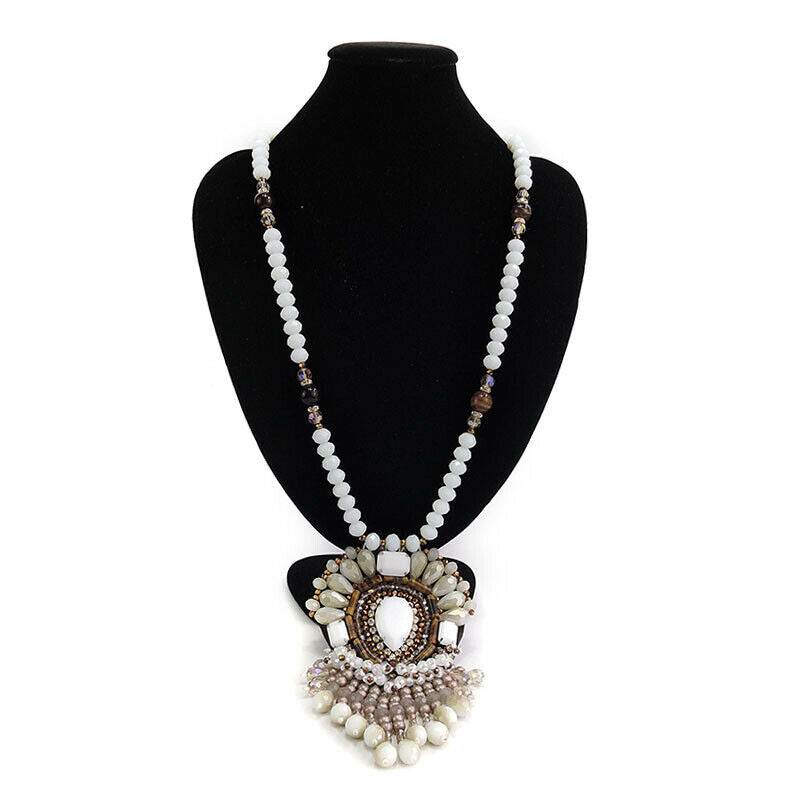 Ethnic Statement Pendant Necklace With Bead Fringe