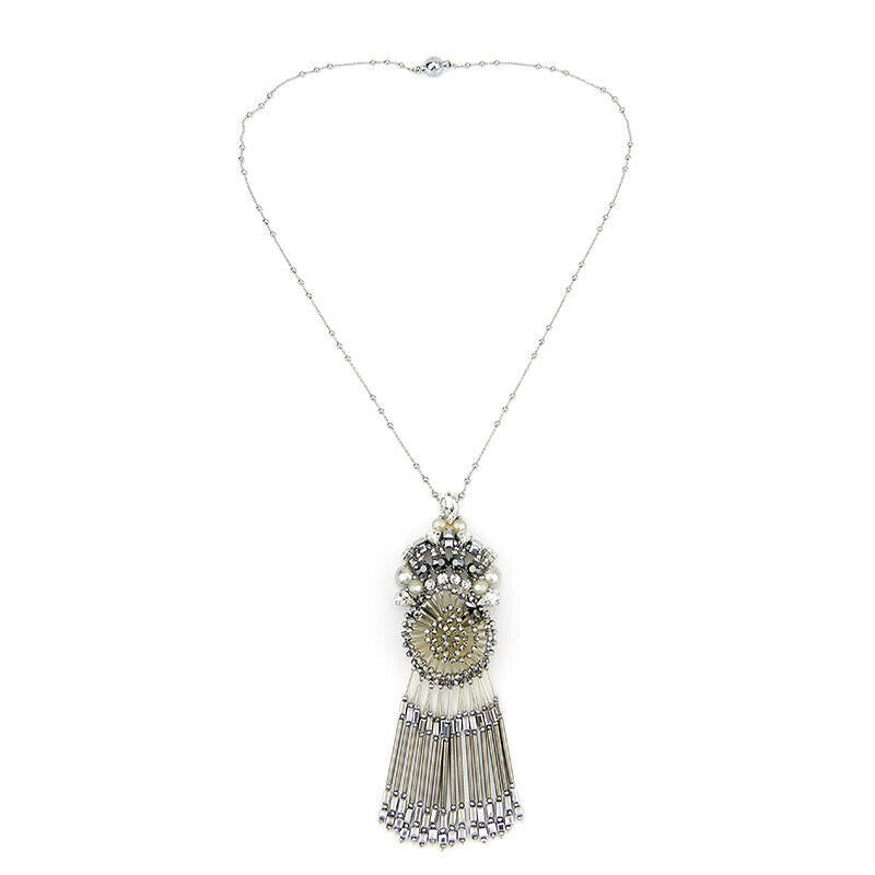 Sparkling Fringed Pendant Statement Handmade Necklace