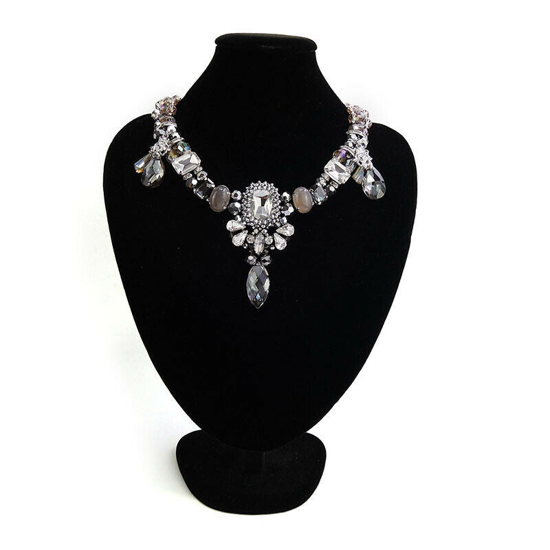 Beaded Statement Handmade Necklace With Crystal Drips