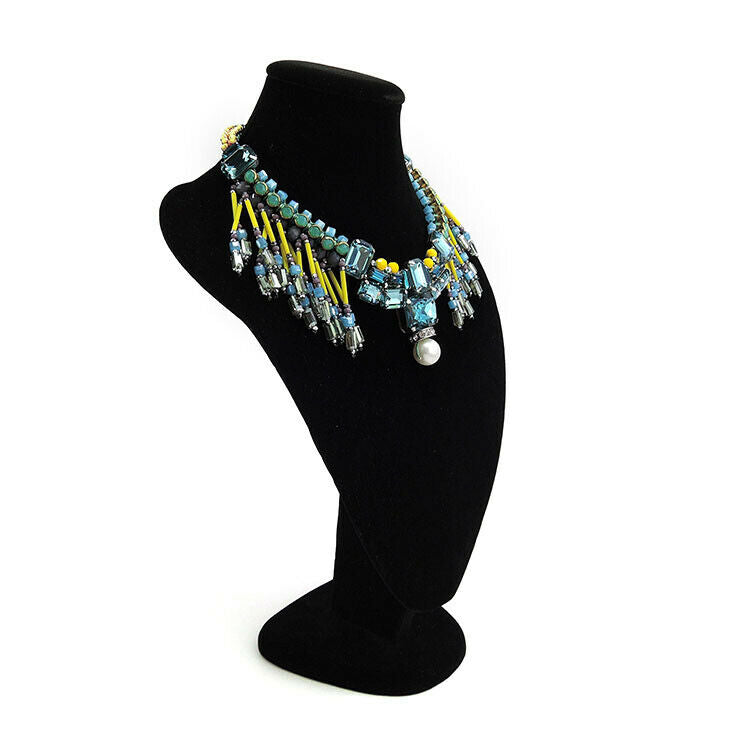 Multi Bead Fringe Statement Bib Necklace