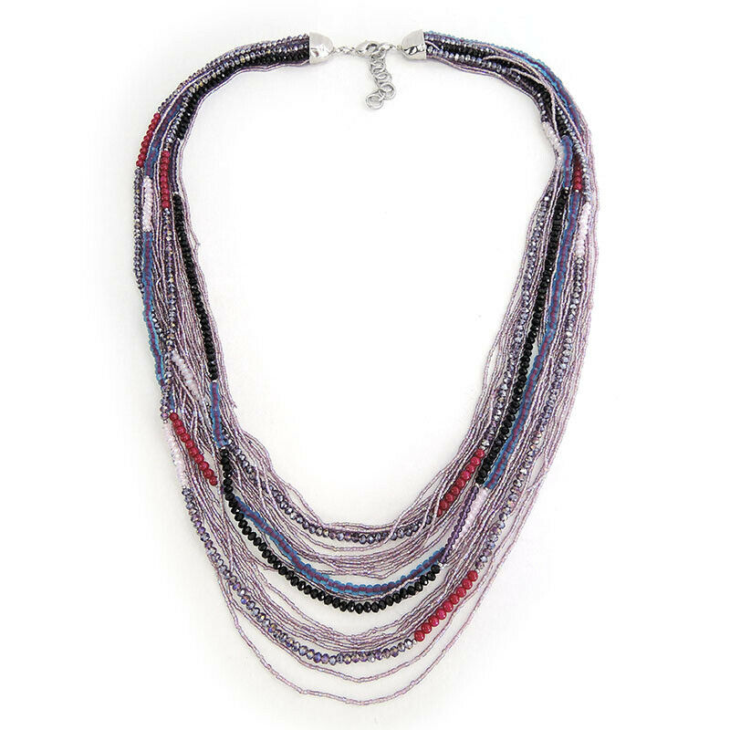 Multi Strands Glass Beads Handmade Necklace Jewellery