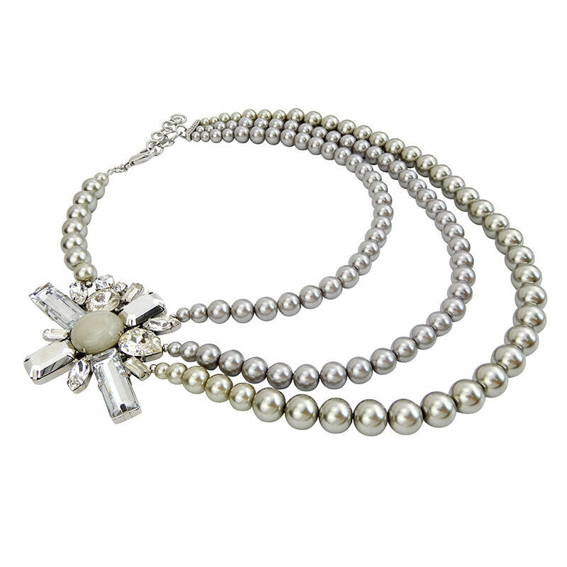 Three Strands Imitation Pearl Necklace