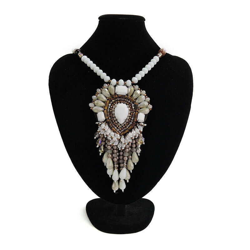 Ethnic Pendant Statement Bead Fringe Handmade Necklace