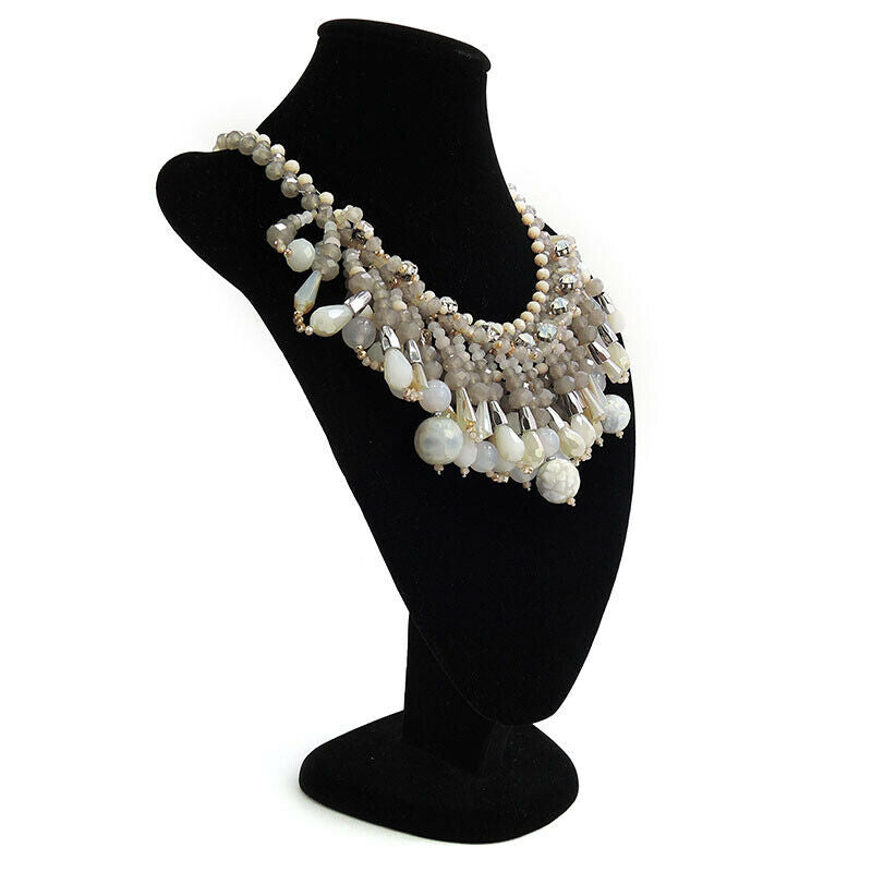 Multi Bead Fringe Statement Bib Necklaces