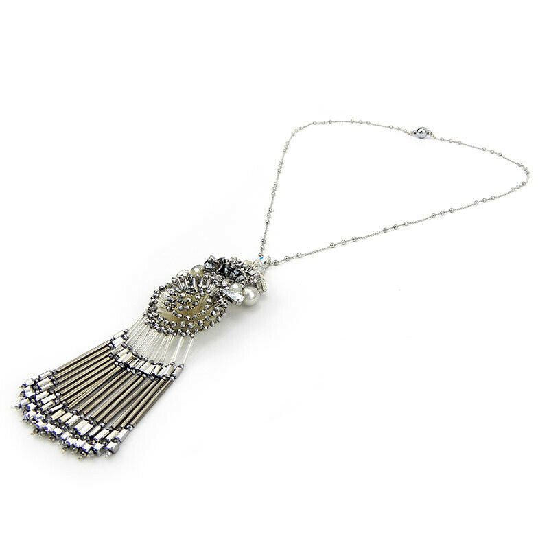 Sparkling Statement Necklace With Fringed Pendant