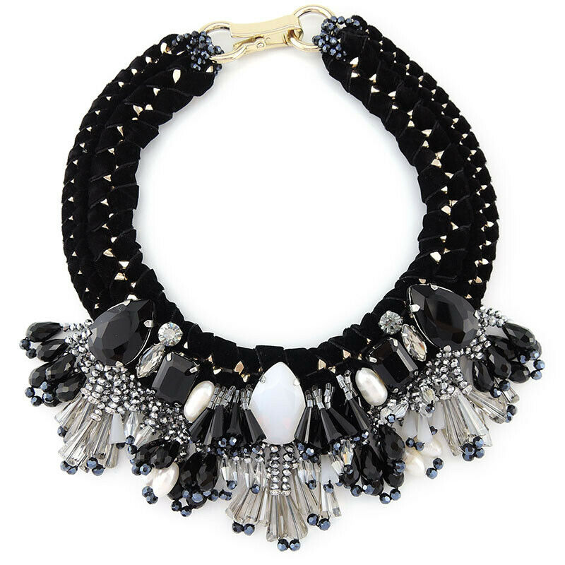 Unique Fringed Bib Statement Handcrafted Necklace
