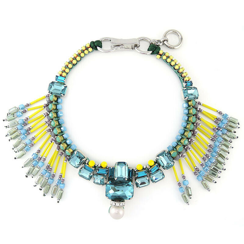 Multi Bead Fringe Statement Bib Handmade Necklace