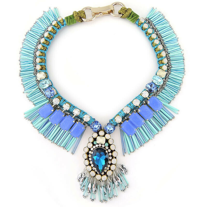 Unique Fringed Collar Statement Handmade Necklace