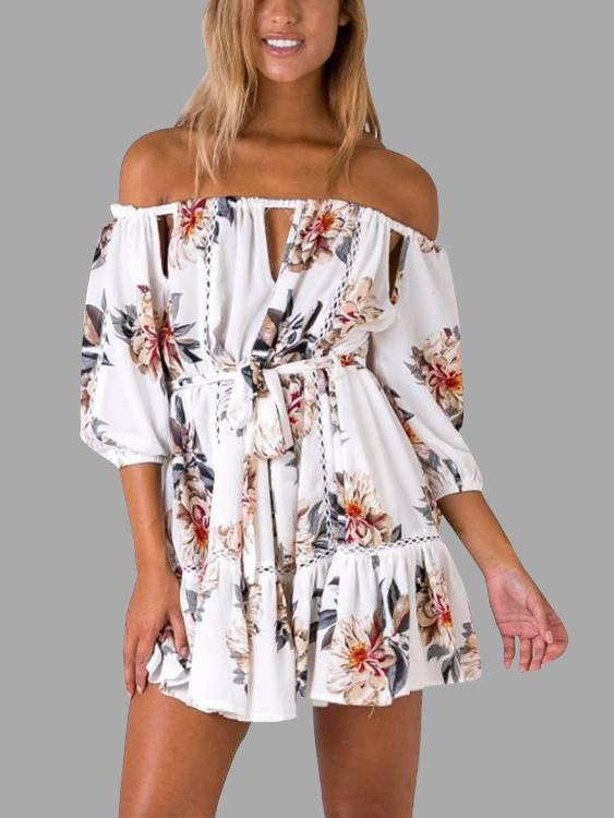 Off The Shoulder 3/4 Sleeve Floral Print Lace-Up Cut Out Flounced Hem White Mini Dress