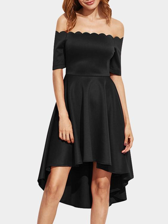 Off The Shoulder Short Sleeve Irregular Hem Black High Waist Dress