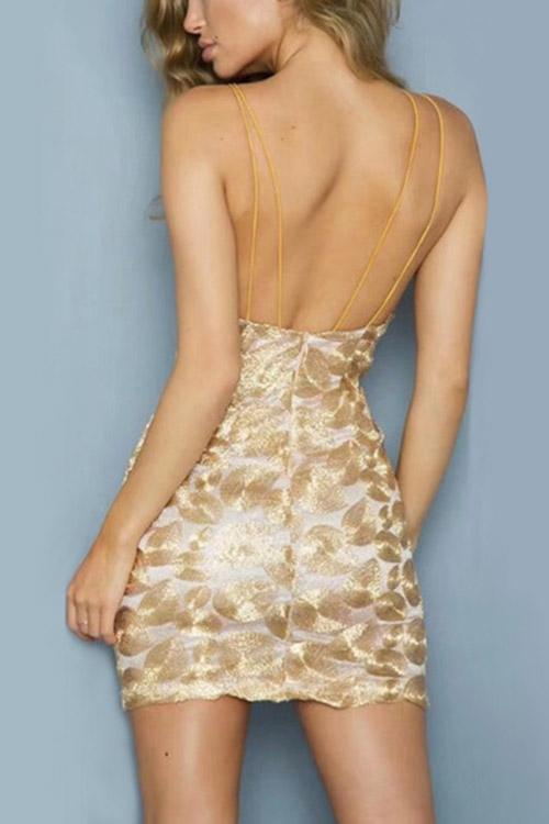 Womens Gold Bodycon Dresses