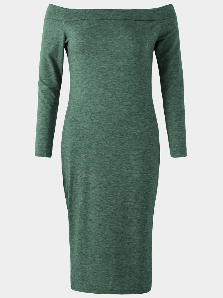 Womens Green Off The Shoulder Dresses