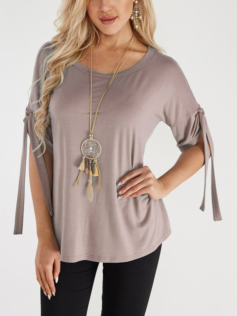Round Neck Lace-Up Half Sleeve Khaki T-Shirts