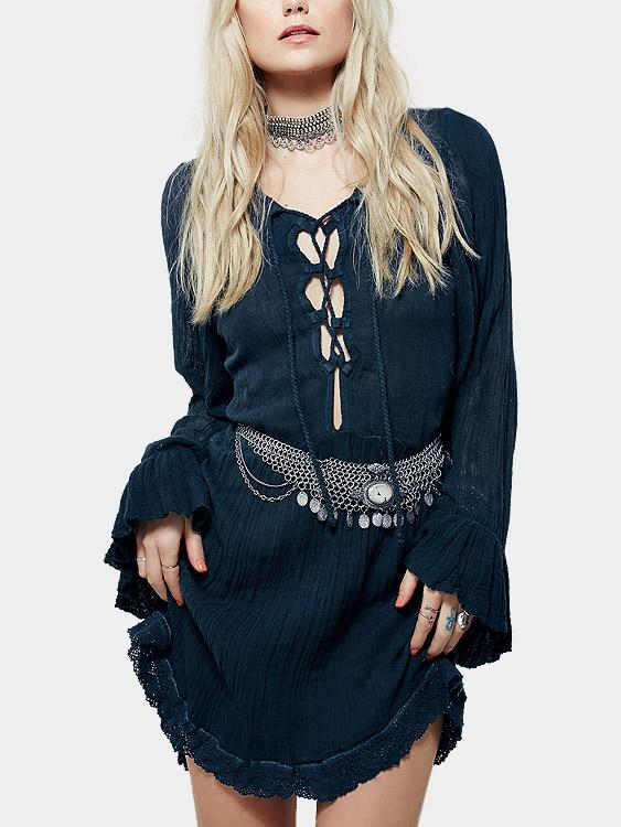 Lace-Up Casual Dresses