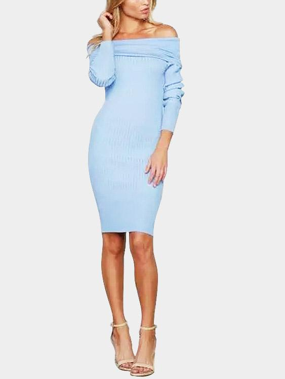 Off The Shoulder Backless Long Sleeve Blue Sexy Dresses