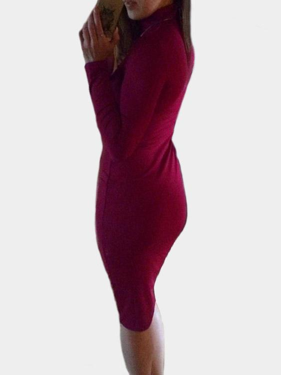 Womens Burgundy Bodycon Dresses