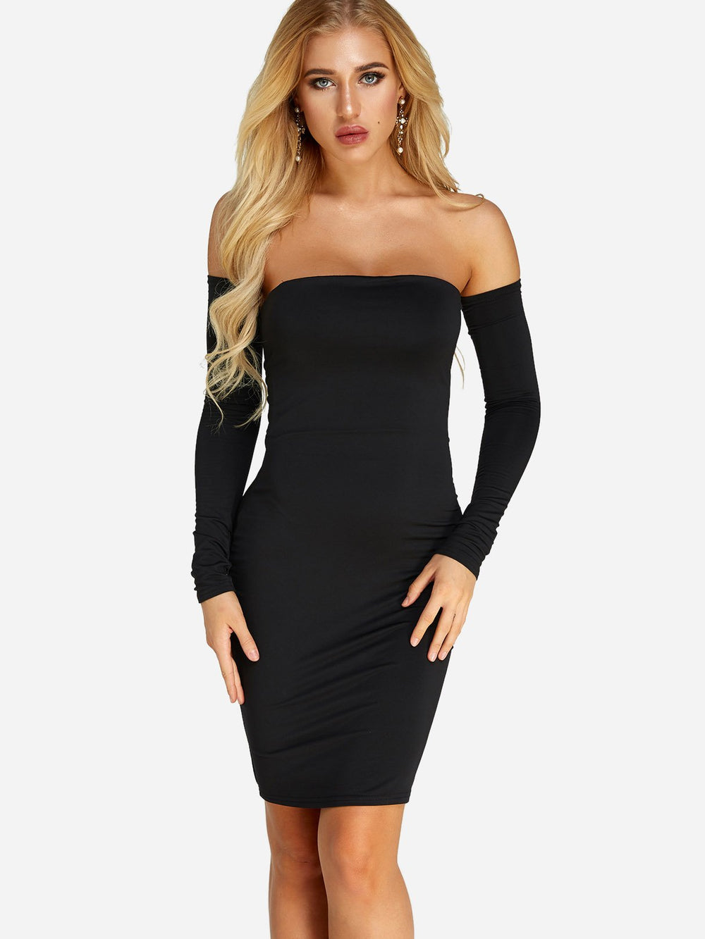 Black Off The Shoulder Long Sleeve Plain Backless Dresses