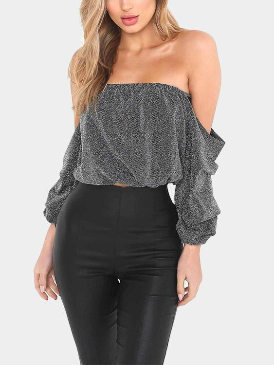 Off The Shoulder Long Sleeve Light Grey Top