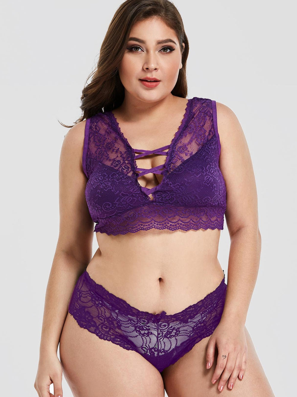 Lace Criss-Cross Purple Plus Size Intimates