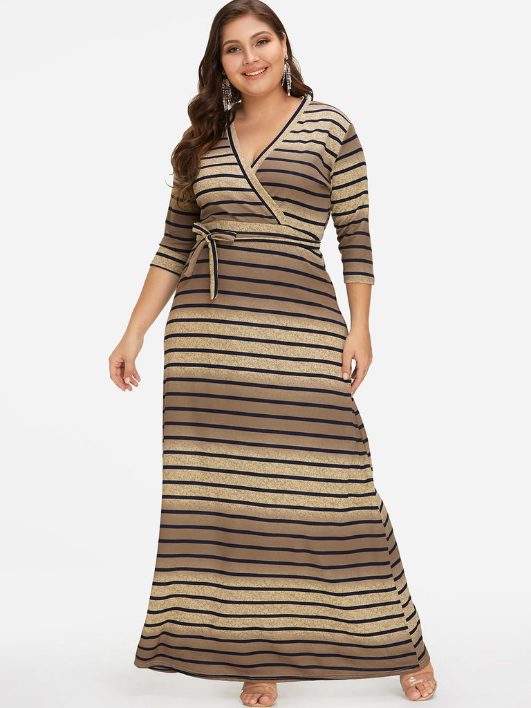 V-Neck Stripe Self-Tie Wrap Half Sleeve Plus Size Dress