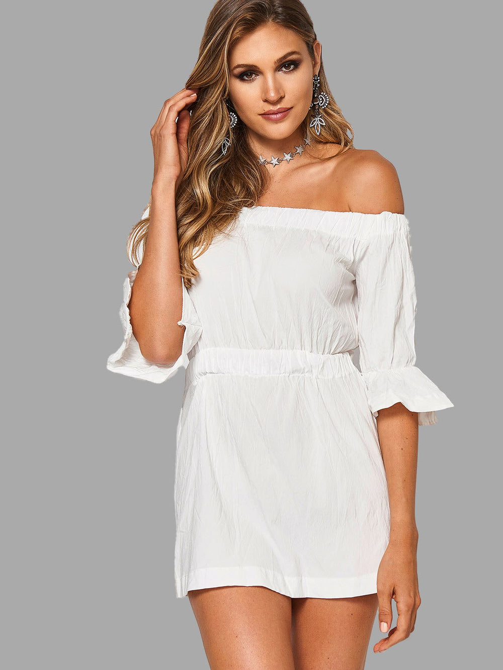 Off The Shoulder 3/4 Length Sleeve White Sexy Dresses