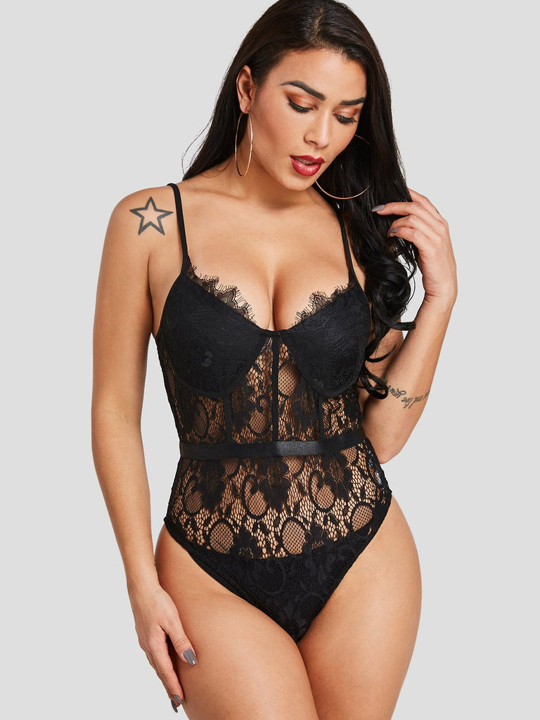 V-Neck Lace Sleeveless Black Bodysuits