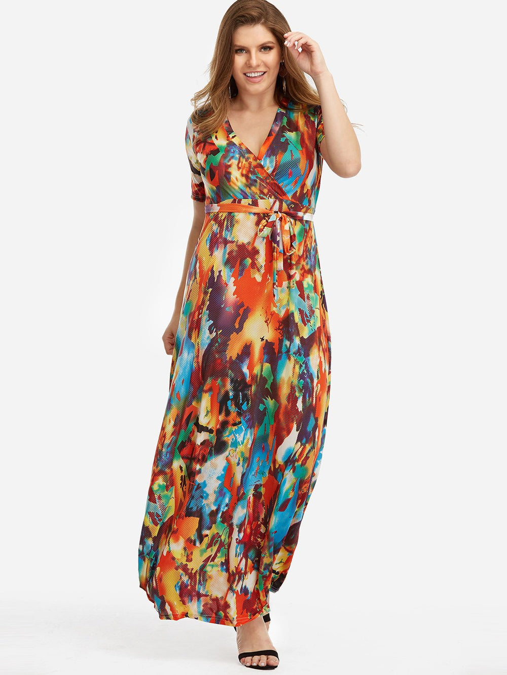 Womens Short Sleeve Plus Size Maxi Dress