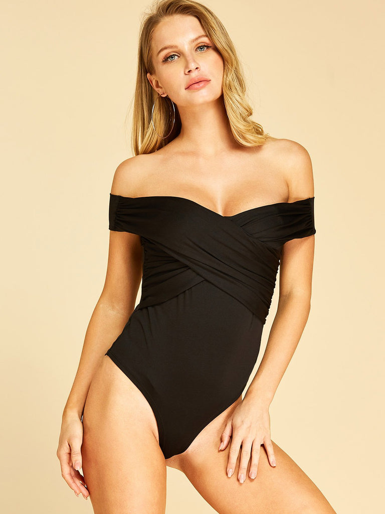 Off The Shoulder Plain Crossed Front Short Sleeve Black Bodysuits