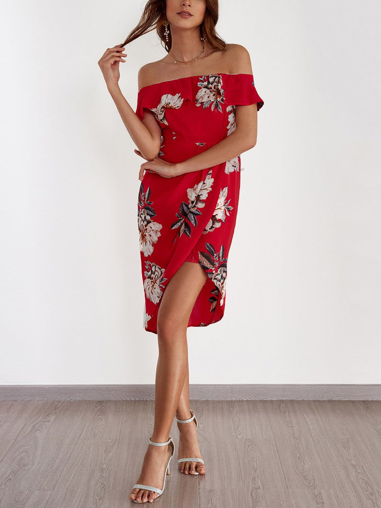 Frill Neck Off The Shoulder Floral Print Tiered Short Sleeve Irregular Hem Dresses