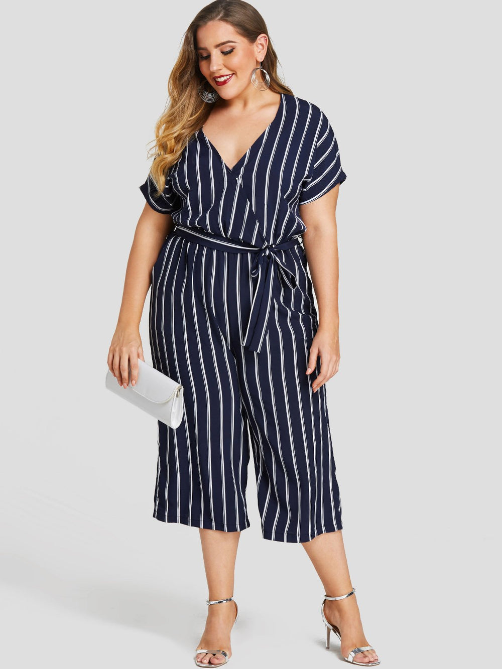 V-Neck Stripe Self-Tie Short Sleeve Navy Plus Size Bottoms