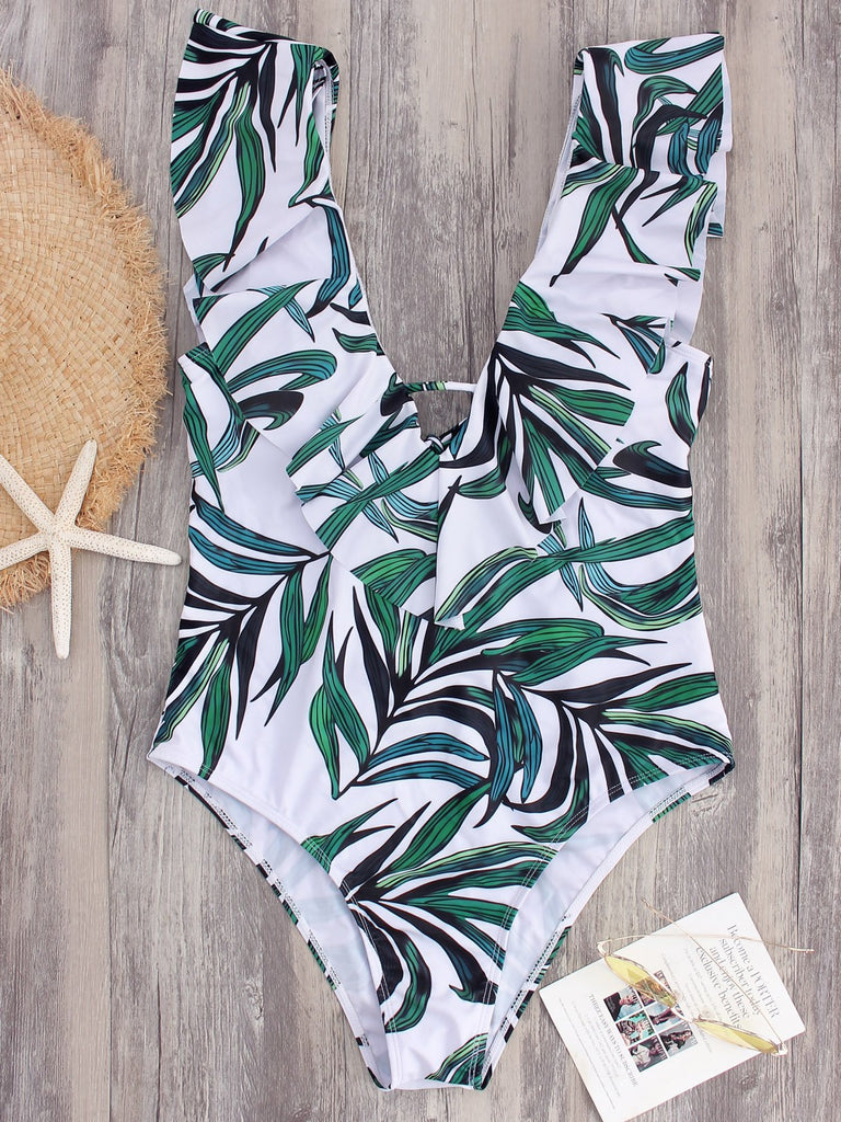 White V-Neck Sleeveless Backless Self-Tie One-Pieces Swimsuits