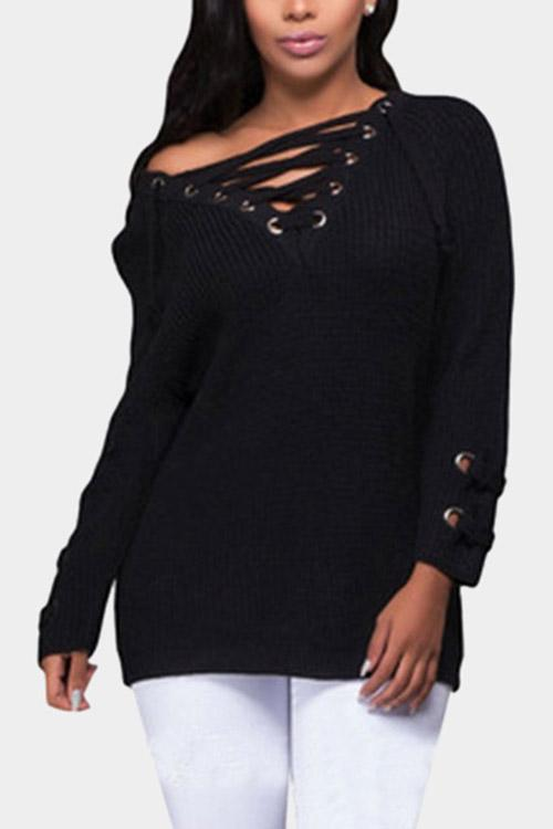 Black V-Neck Long Sleeve Lace-Up Sweaters