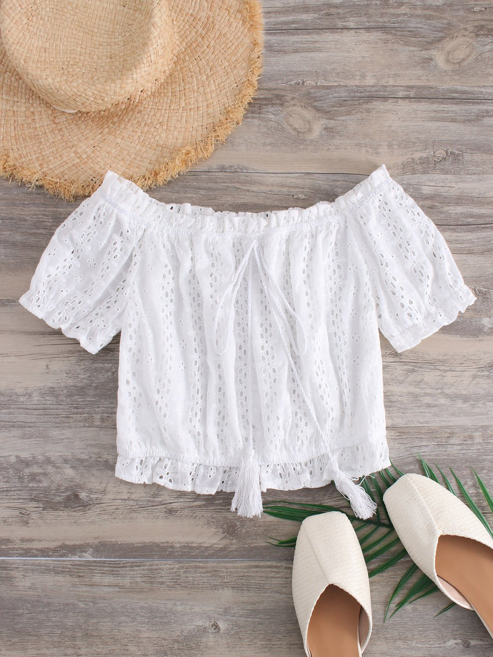 Off The Shoulder Plain Crochet Lace Embellished Hollow Short Sleeve White Crop Top