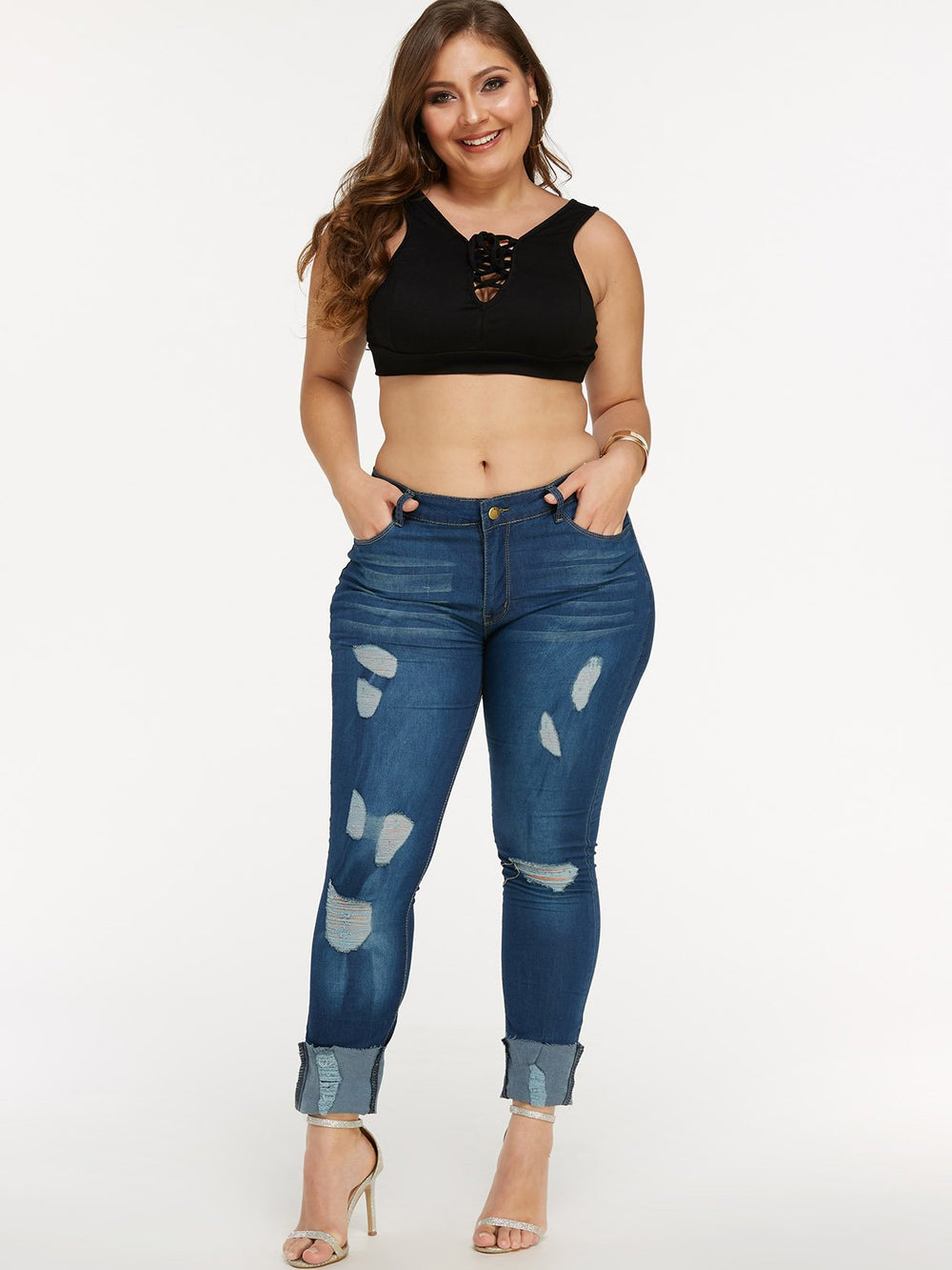 Random Ripped Zip Back Bodycon Dark Blue Plus Size Bottoms